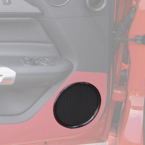 Real Carbon Fiber Inner Door Audio Speaker Frame Trim For Ford Mustang 15-19