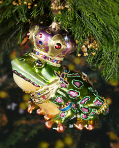 Details About 125 New In Box Jay Strongwater Frog Glass Christmas Ornament Gift Swarovski