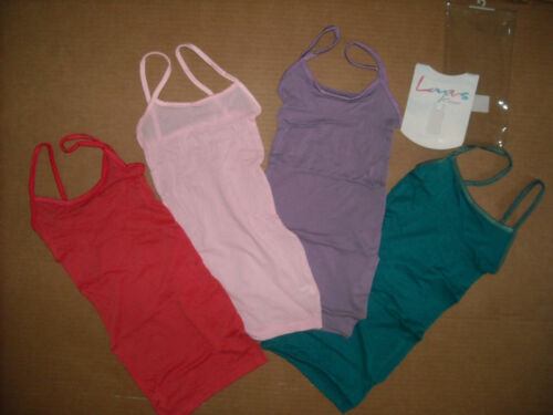 NWT CAPEZIO LAYERS CAMISOLE 1 SIZE ADULT CORAL TEAL PINK ORCHID