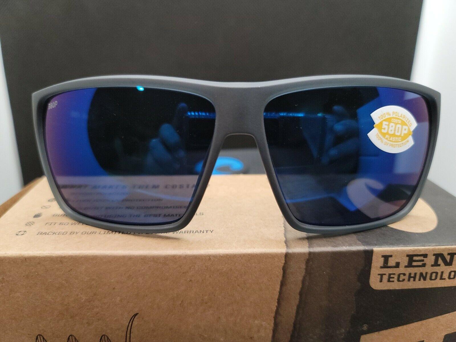 Costa Del Mar Sunglasses RINCON Smoke Crystal Blue Mirror 580P Polarized