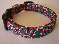 Charming Green With Red & White Christmas Peppermint Candy Dog Collar