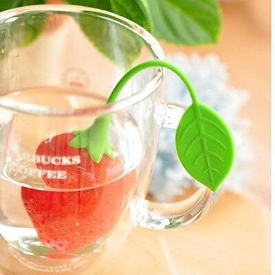 Red Silicon Strawberry Design Leaf Strainer Herbal Spice Infuser Tea Filter 2016