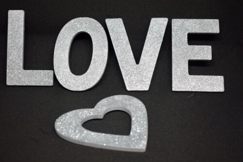 10cm A-Z Silver Glitter Letters Wall Hangings Alphabet Gift Wedding sign