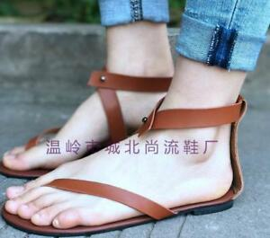 US4-Womens-Gladiator-PU-Leather-Thong-Toe-Strappy-Sandals-Flats-Shoes-Sexy