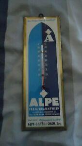 1955-Alpe-Franzbranntwein-Werbung-mit-Thermometer-23x8-cm-Imoglas-Wuppertal-Cham