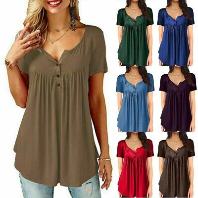 Women/'s Short Sleeve Blouse T Summer Shirt Tops Casual Loose Tunic Tee Plus Size