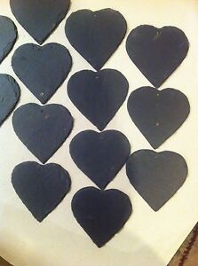 Image Is Loading 120 Slate Heart Wedding Favours Hanging Name Tag