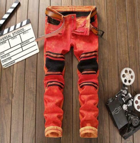 Men punk rock Slim denim jeans Skinny Nightclub denim Jeans pants trousers