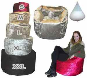 Crushed-Velvet-beanbag-kids-Adults-Bean-Bag-Gaming-Chair-filled-lined-MADE-IN-UK