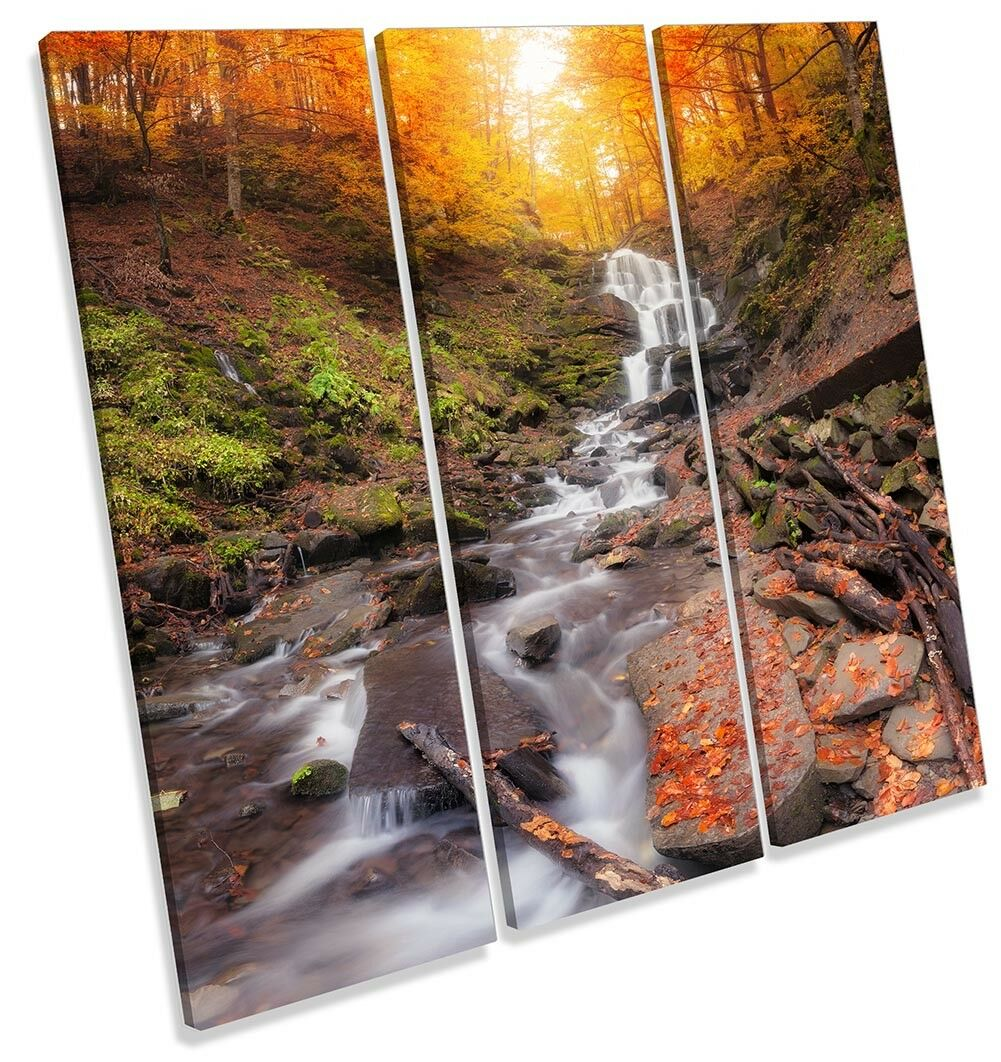 Orange Landscape Waterfall Picture TREBLE CANVAS WALL ART Print