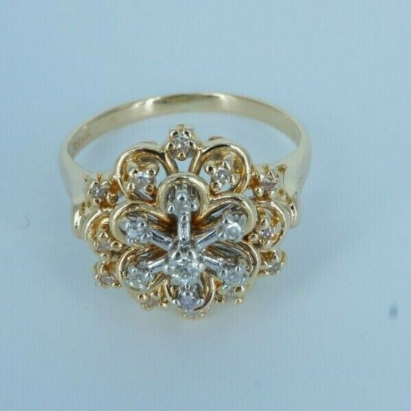 Unique Style Woman's 14k gold Diamond Dinner Ring