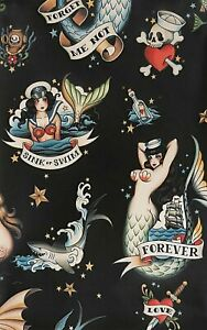 Alexander Henry Forget Me Not Mermaid Pin-ups Black Cotton Fabric BTY