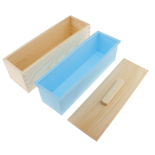 Rectangle Silicone Mold w// Wooden Box Soap Cake Toast Loaf Baking Molds Tool