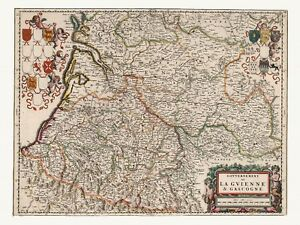 Map Of France Gascony.Details About Old Antique Aquitaine Gascony France Decorative Map De Wit Ca 1682