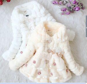 f67c67c97 2018 new Baby Girls Faux Fur Fleece Lined Winter Outwear Jacket Coat ...