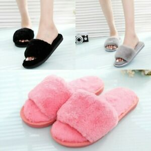 9a85a3b85075 Image is loading Women-Furry-Slipper-Winter-Female-Fluffy-Slides-Sandals-