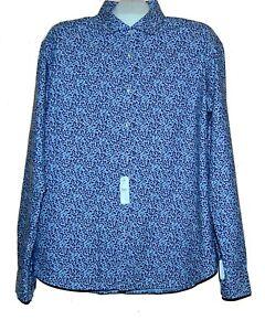 Z Zegna Men's Blue Floral Cotton Shirt Slim Fit Size XL $245