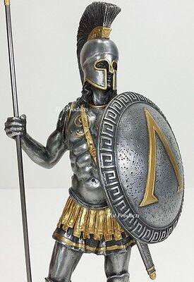 "14"" SPARTAN GREEK WARRIOR Statue HOPLITE SHIELD SPEAR Pewter Finsh Art Sculpture"