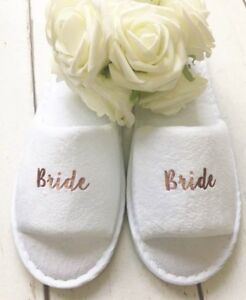 Image is loading Rose-Gold-Wedding-Personalised-Bridal-Party-Spa-Slippers- 66021e79a058