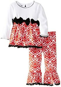 Girls' Clothing (newborn-5t) Official Website Girl's Red Damask Minky Holiday Pant Set 5t To Be Renowned Both At Home And Abroad For Exquisite Workmanship Baby & Toddler Clothing Skillful Knitting And Elegant Design