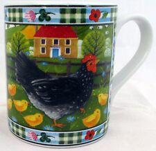 Taza de pollo Exclusivo Divertido & Taza de porcelana lindo gallina escena de la granja hecho a mano en el Reino Unido