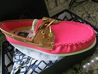 Sperry Top-sider A/o Pink Cvs Cognac Boat Shoes Womens 8.5 Free Ship $130