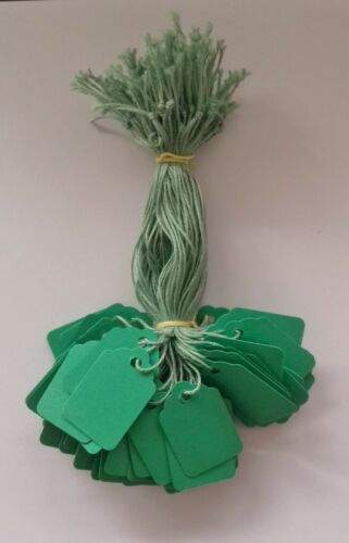 100 Vert Enfilées Prix tickets 33 mm x 22 mm petites Balises de swing étiquettes