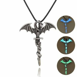 Vintage-Glow-In-The-Dark-Leather-Dragon-Cross-Pendant-Necklace-Men-Jewelry-Gift