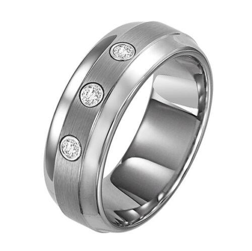 Cambridge 8MM Tungsten Carbide Zircon Men/'s Wedding Band Wedding Ring M8