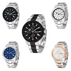 Orologio-Uomo-Cronografo-SECTOR-480-con-Cinturino-in-Acciaio-e-Datario