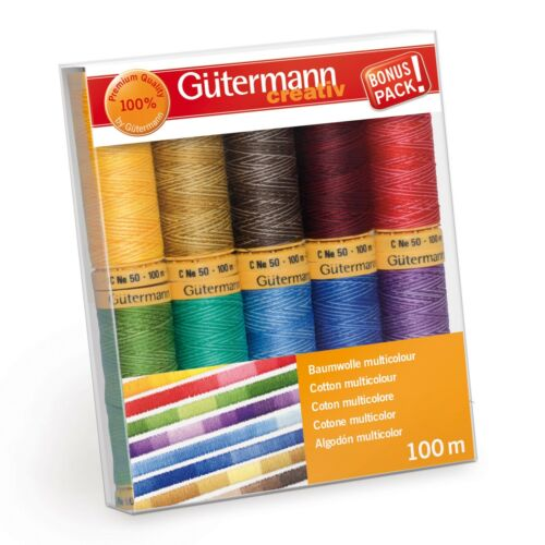 Assorted Gutermann Thread Set Natural Cotton C No 50 10 x 100m