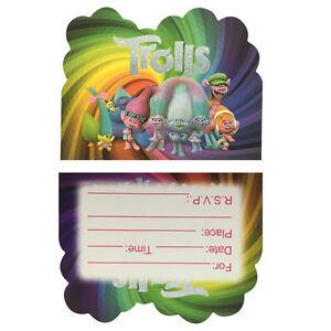 Set of 6 trolls party invitations kidschild birthday party image is loading set of 6 trolls party invitations kids child stopboris Gallery