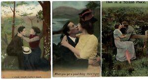 LOT-OF-3-Bamforth-romance-Edwardian-couple-kissing-c1910-postcard