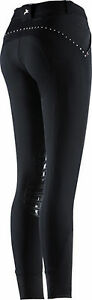 Equi-Theme-Damen-Reithose-Equit-039-M-mit-Strass-Silikon-Kniebesatz-schwarz-Gr-38