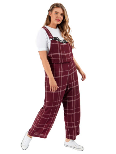 Lovedrobe GB Womens Plus Size Check Pinafore Jumpsuit