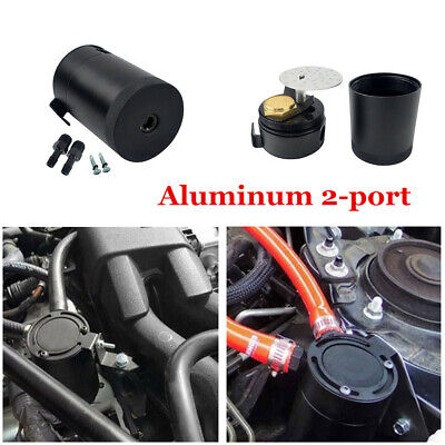 Haudang Universal Aluminum Alloy 3-Port Oil Catch Can+Oil Drain Valve,2 Inlets 1 Outlet-Black