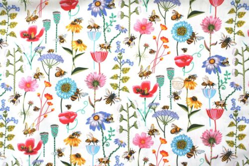 Bee Haven Floral fabric fq 50 x 56 cm Nutex 89810-101 100/% Cotton