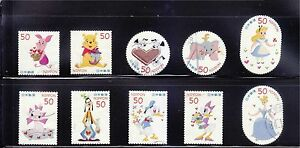JAPAN-2012-DISNEY-CHARACTER-GREETING-50-YEN-COMP-SET-OF-10-STAMPS-IN-FINE-USED