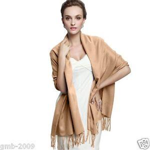 Womens-Winter-Camel-Pashmina-100-Cashmere-Solid-Tassel-Long-Shawl-Wrap-Scarf