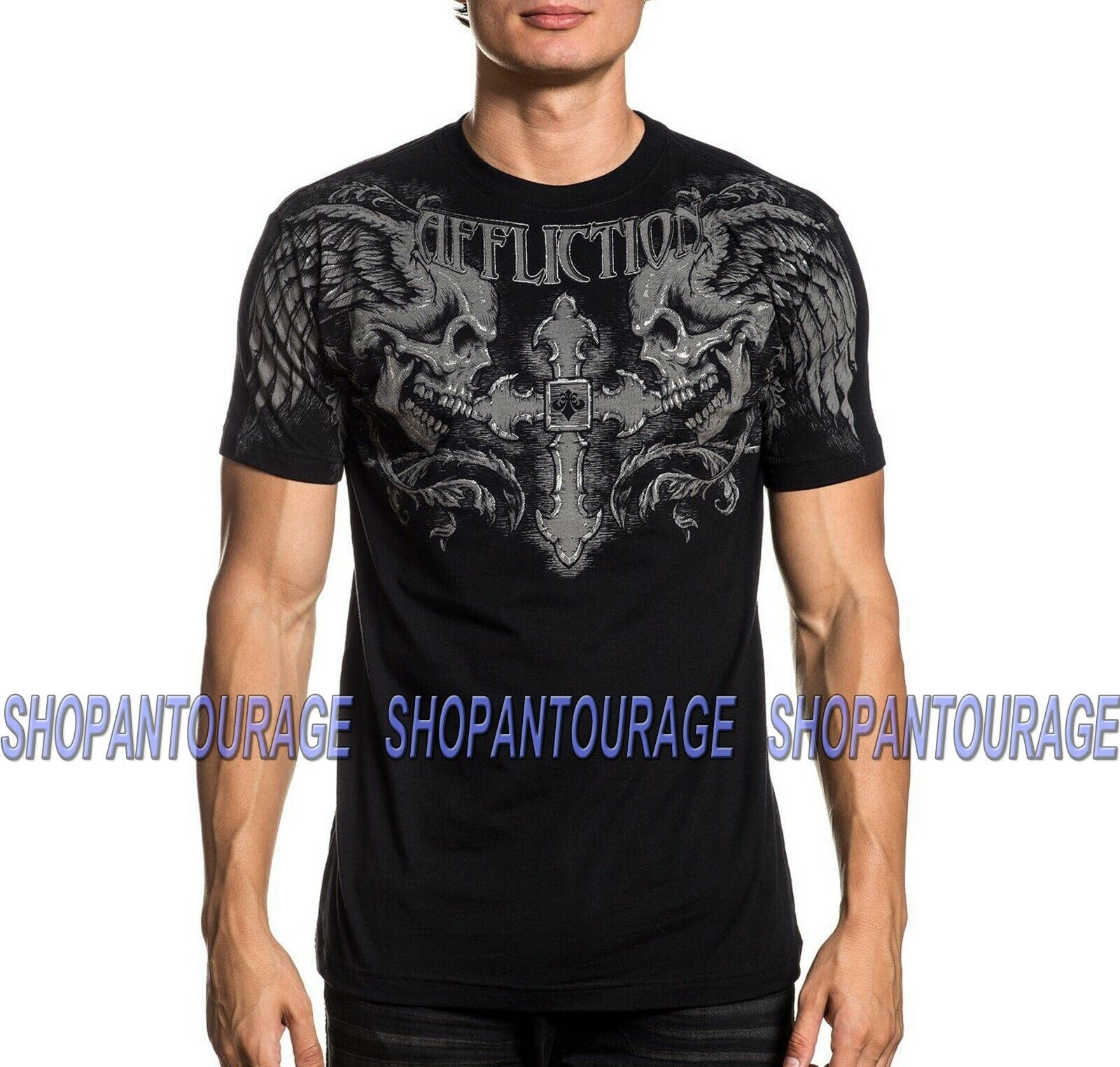 Affliction Winged Up A20629 New Short Sleeve Fashion Graphic T-shirt For Men