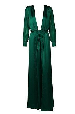 Green Long Dress Maxi Gown Evening Long Sleeves Plunge Sexy Runway Red carpet