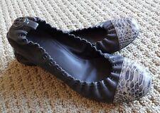TORY BURCH Abbey Cap Toe Scrunched Leather Ballerina Flat 8.5 $195 Smoke Gray
