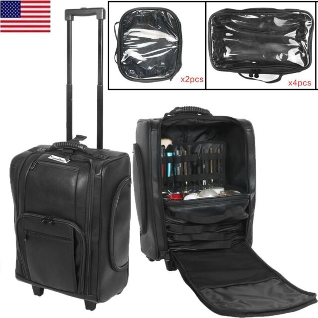 111f037d6a9b Professional Makeup Case Rolling Wheeled Cosmetic Storage Train Removable  Bags