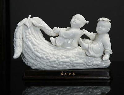 """10 """"dehua White Porzellan Tongzi Boys Kid Lad Balsam Birne Bitter Gourd Statue Reines Und Mildes Aroma"""