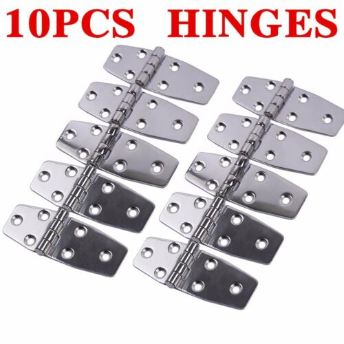 10PCS AISI 316 Stainless Steel Boat Marine Flush Door Hinges 3.8X1.5  Polished