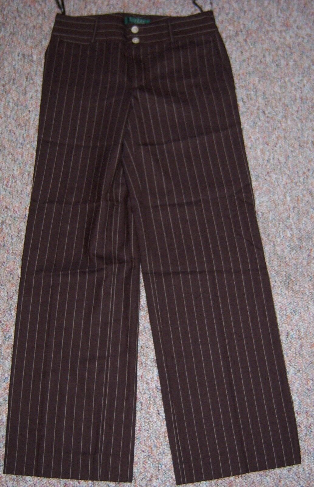 RALPH LAUREN Brown Striped Andover Modern Wide Leg Wool Pants 2P or 2 Petite NWT
