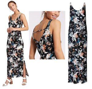 New-Ladies-M-amp-S-Maxi-Dress-Floral-Havana-Print-Summer-Beach-Dress-Size-8-22
