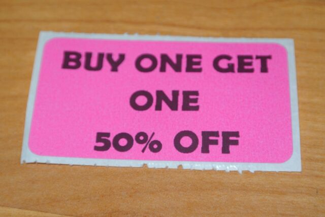 LOT 100 YELLOW SALE 50/% OFF  Price Labels Stickers Tags Retail Store 2X1 INCH