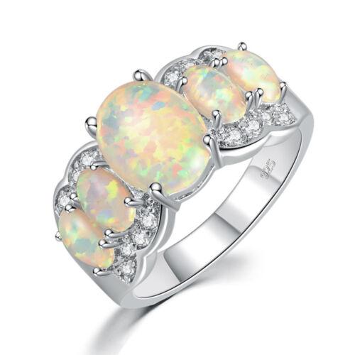 Noble White Fire Opal Zircon Women Jewelry Gemstone Silver Ring Size 5-13 OJ4360