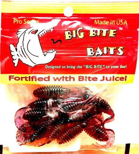 "Pro Series Big Bite Bates Ring Triple Tip Grub Junebug 2/"" Soft Fishing Lure"